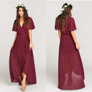 Show Me Your Mumu Sophia Wrap Dress Merlot Small